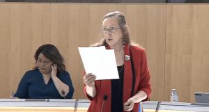 Premier Caroline Cochrane in the NWT legislature in May 2020