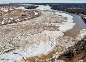 The Hay River is pictured as it breaks up in May 2020