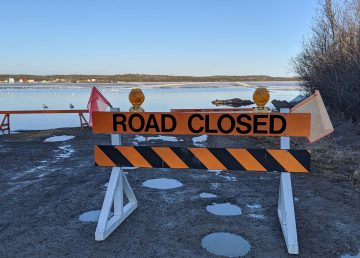 The Dettah Ice Road is closed as open water appears in spring 2020. Sarah Pruys/Cabin Radio