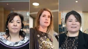 Ministers Diane Thom, left, Katrina Nokleby, and Paulie Chinna in a composite image. Sarah Pruys/Cabin Radio