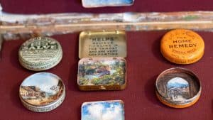 A close-up of the vintage medicine tins painted by Winnipeg-based artist Shelley Vanderbyl.
