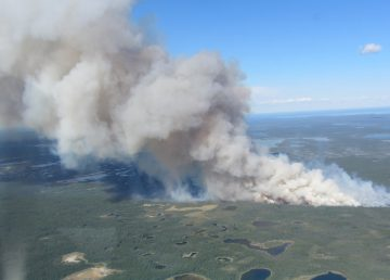 A photo of a fire located 36 km west of Behchokǫ̀ on June 30, 2020. Photo: NWT Fire Facebook page