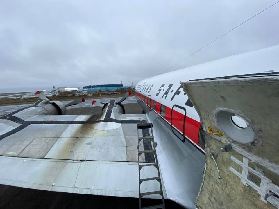 A view of the DC-6 at Yellowknife Airport