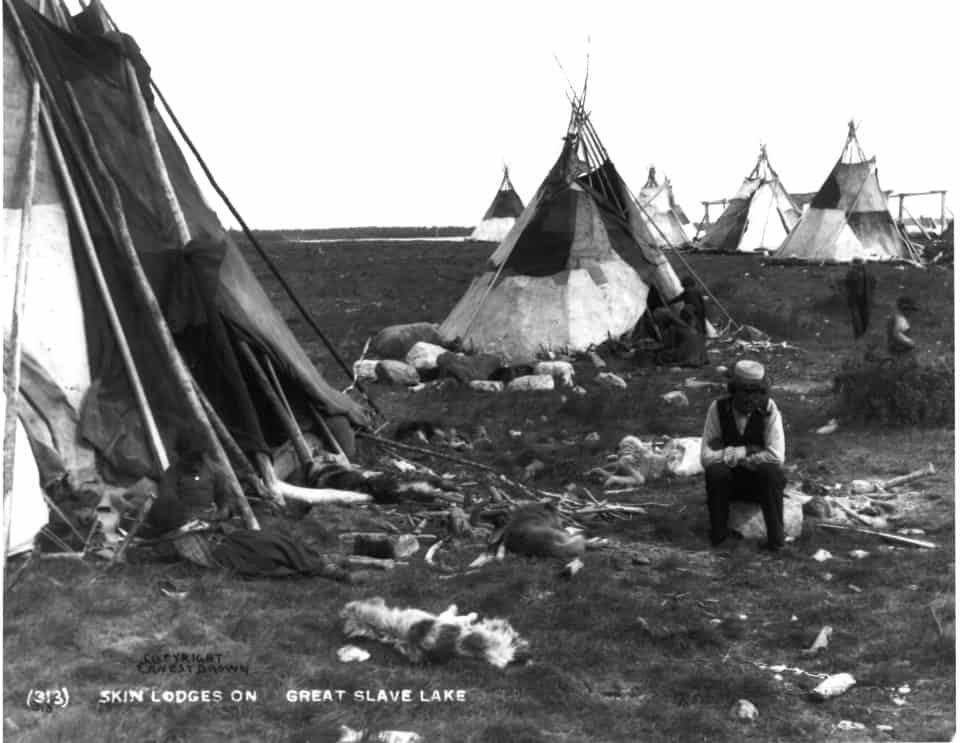 """Tipis made of caribou hide at Great Slave Lake"" from the Provincial Archives of Alberta's E Brown Collection"