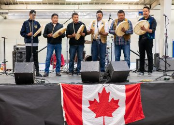 Dene drummers at Yellowknife's 2019 Canada Day celebration