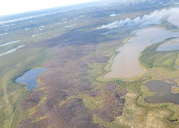 A photo of the fire 12km south of Inuvik on June 29, 2020. Photo: Department of Environment and Natural Resources