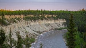 Escarpment Creek, overlooking the Hay River, in June 2020