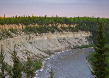 Escarpment Creek, overlooking the Hay River, in June 2020