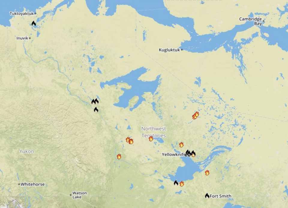 Active fires (in red and orange) and fires declared out (black) across the NWT as of 6pm on June 24, 2020.