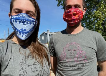 Rylund Johnson, right, and constituency assistant Cat McGurk sport Dr Kami Kandola shirts