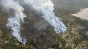A fire 12 kilometres outside of Inuvik was 110 hectares in size as of Sunday evening. Photo: NWT Fire