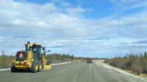 Roadwork along Highway 3 in June 2020. Sarah Pruys/Cabin Radio