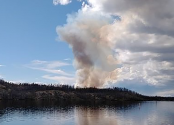 A wildfire near Jennejohn Lake, east of Yellowknife is pictured by Cameron Buddo on June 24, 2020