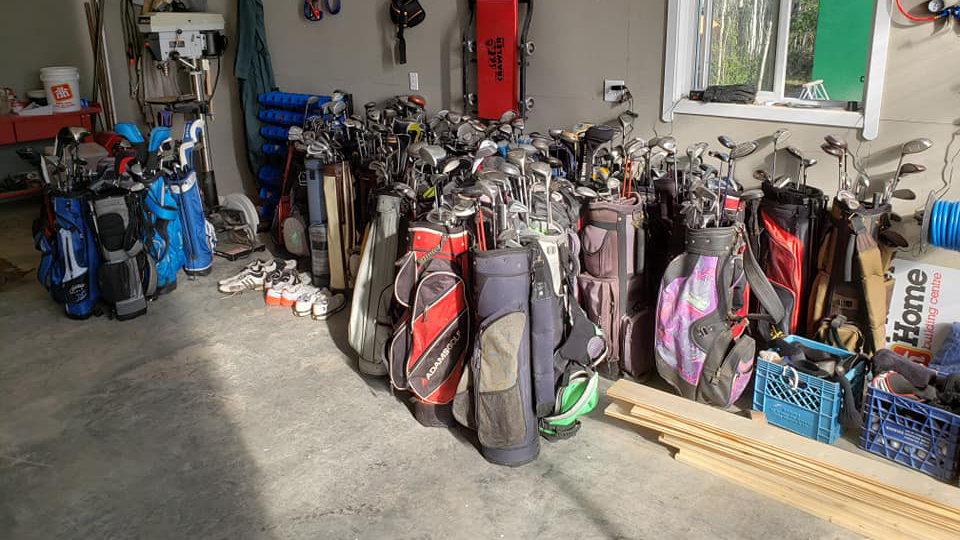 Golf clubs donated by Sports Central will be given away at Fort Providence's Canada Day gold tournament. Susan Fleck/Photo