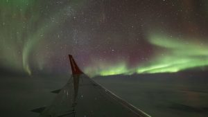 The northern lights seen from an Air North aircraft