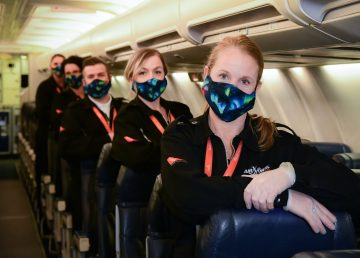 Air North cabin crew wearing masks during the Covid-19 pandemic