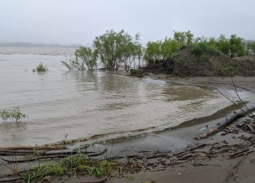 High water levels on the Slave River are seen from the Fort Smith boat launch on July 14, 2020