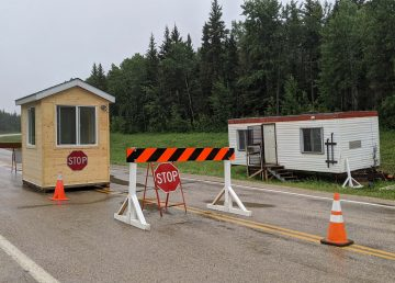 A file photo of the checkpoint at the Fort Smith border with Alberta on July 14, 2020