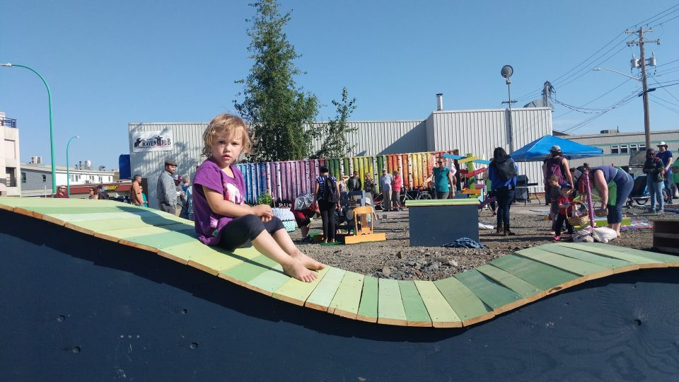 A young visitor to the pop-up park as it opened in August 2018