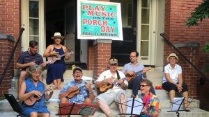 A group of ukulele players from Portland, Maine celebrate a previous Play Music on the Porch Day