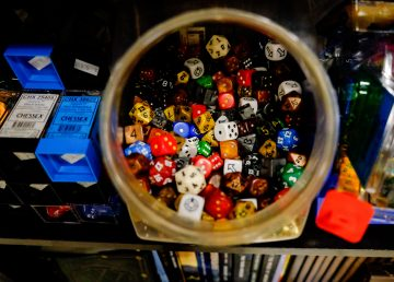 Dice inside the Ogre's Lair games store in Yellowknife