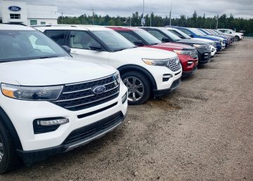 Vehicles on the lot at Yellowknife's Aurora Ford in August 2020