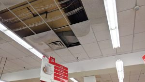 A sprinkler malfunctioned over aisle 10 in Glen's Your Independent Grocer on Friday morning. The store was open again by lunchtime. Sarah Pruys/Cabin Radio