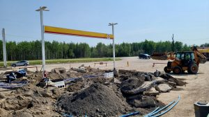 Construction work taking place at Fort Providence's Big River gas station on August 2, 2020