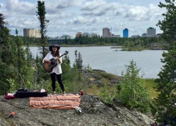 Leela Gilday performs on the Frame Lake Trail in August 2020