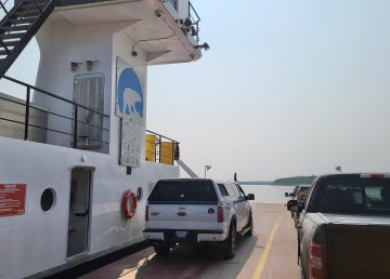 Vehicles aboard the MV Lafferty ferry to Fort Simpson on July 31, 2020