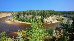 The view from the lookout tower at Sambaa Deh Falls Territorial Park