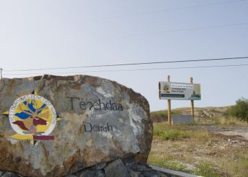 Dettah's welcome sign in July 2020