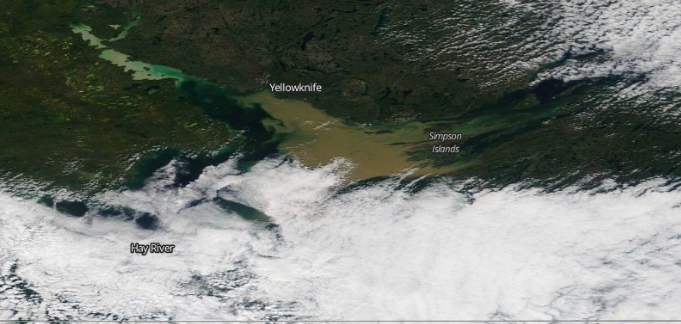 A screenshot of Great Slave Lake on August 20, 2020 from Nasa's Worldview program, which provides near real-time satellite imagery