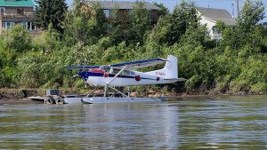 A Simpson Air Cessna 185 Skywagon on floats in Fort Simpson in August 2020