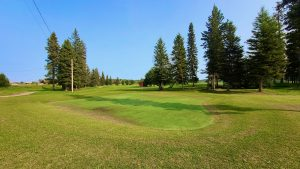 The ninth green at Fort Simpson Golf Club in July 2020