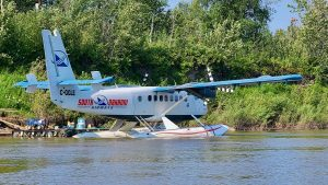 A South Nahanni Airways Twin Otter on floats in Fort Simpson in August 2020