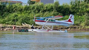 A South Nahanni Airways Cessna 185 Skywagon on floats in Fort Simpson on August 1, 2020