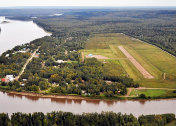 An aerial image of Fort Liard