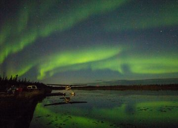 Northern lights over Four Mile Lake outside Fort Smith in November 2018. Sarah Pruys/Cabin Radio