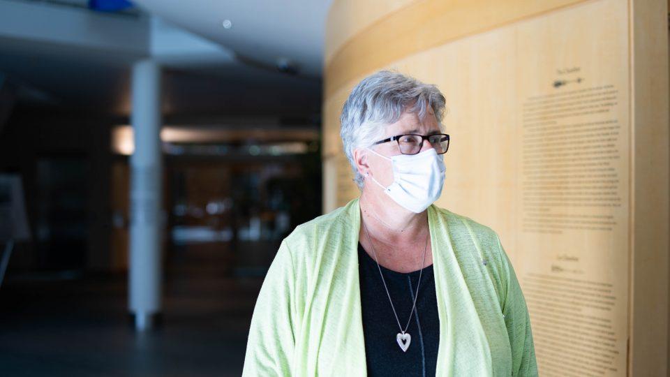 Health minister Julie Green addresses reporters at the legislature on September 8, 2020