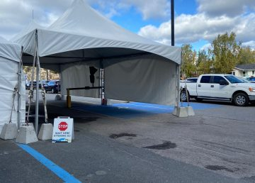 Yellowknife's Covid-19 drive-through testing centre in September 2020