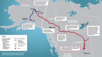 The proposed route of the Alaska to Alberta railway is shown in an A2A Rail graphic