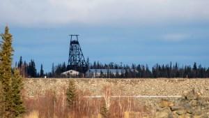 A former mine headframe outside Yellowknife