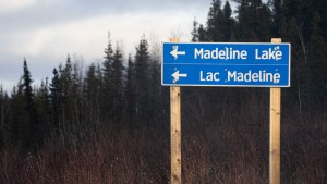 A sign for Madeline Lake on the Ingraham Trail, north of Yellowknife