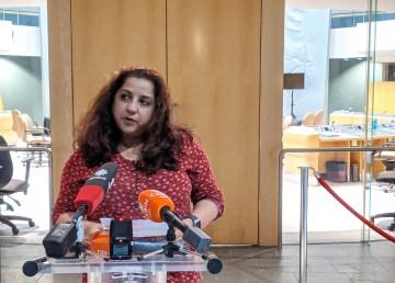Dr Kami Kandola speaks at a press conference on October 21, 2020. Sarah Pruys/Cabin Radio