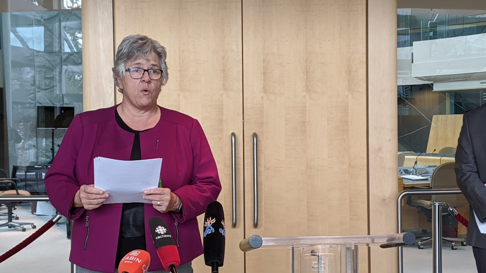 Health minister Julie Green speaks at a press conference announcing details of the presumptive positive cases on Friday, October 16. Sarah Pruys/Cabin Radio