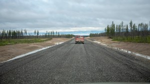 A photo published by the GNWT shows the uner-construction Tłı̨chǫ Highway in August 2020