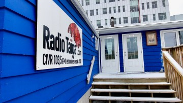 Radio Taïga's Yellowknife office is pictured on October 17, 2020