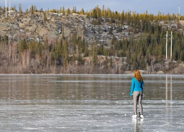 A skater on Yellowknife's Back Bay