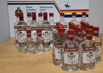 An RCMP handout image of alcohol seized in Fort McPherson